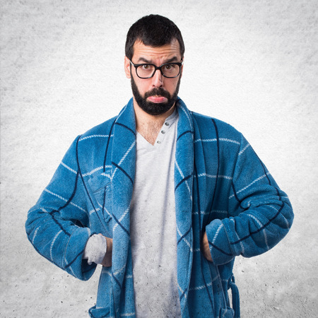 dressing gown: Sad man in dressing gown