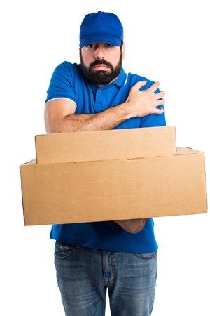 freezing: Delivery man freezing Stock Photo