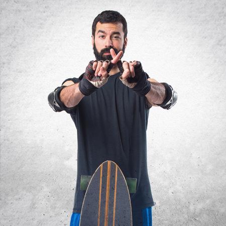 skater: Skater doing NO gesture Stock Photo
