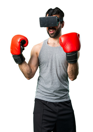 sportman: Sportman with boxing gloves and VR glasses