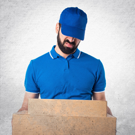 tired: Tired delivery man