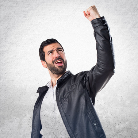 lucky man: Lucky man with leather jacket Stock Photo