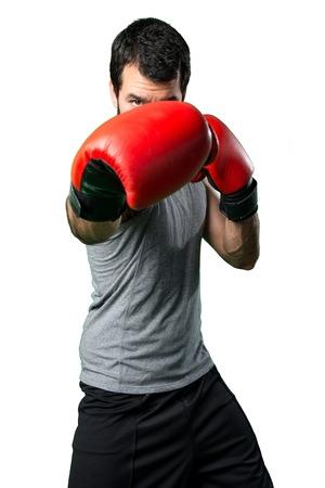 sportman: Sportman with boxing gloves Stock Photo