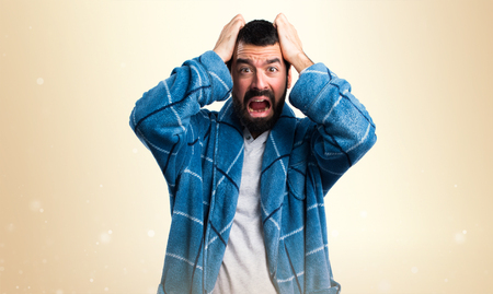 dressing gown: frustrated Man in dressing gown