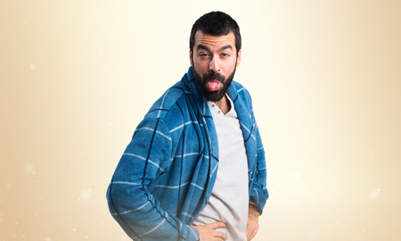 dressing gown: Man in dressing gown doing a joke Stock Photo