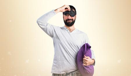 pijama: Hombre en pijamas