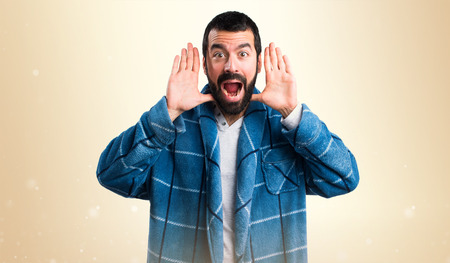 dressing gown: Man in dressing gown doing surprise gesture
