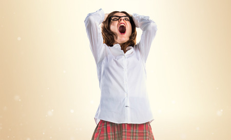 frustrated student: frustrated student girl