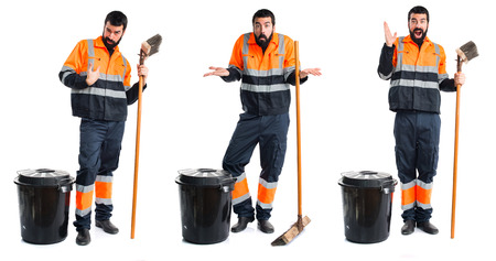 unimportant: Garbage man making unimportant gesture Stock Photo