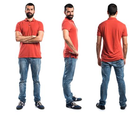 Man wearing red polo shirt Foto de archivo