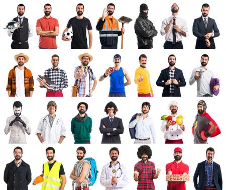 Person verkleidet von vielen Berufen