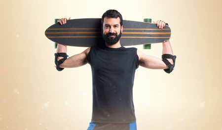 Skater with his longboard Stock Photo