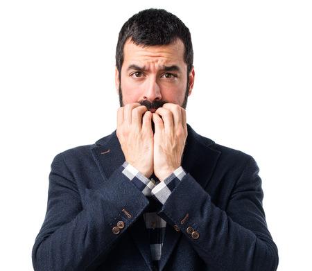 frightened: Handsome man frightened