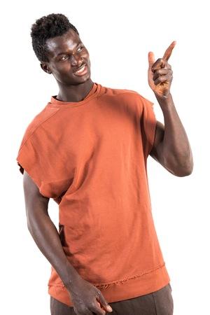 black man thinking: Happy black man thinking Stock Photo