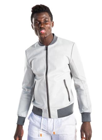 joke: Black man doing a joke Stock Photo