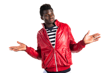 unimportant: Handsome black man making unimportant gesture