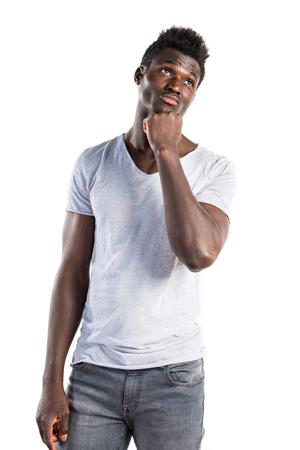 black man thinking: Black man thinking Stock Photo