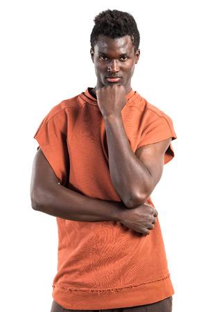 black man thinking: Handsome black man thinking Stock Photo