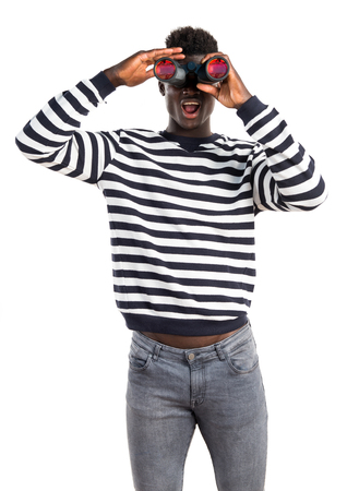 man mouth: Handsome black man with binoculars Stock Photo