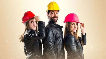 cousin: Work people with colorful hats Stock Photo