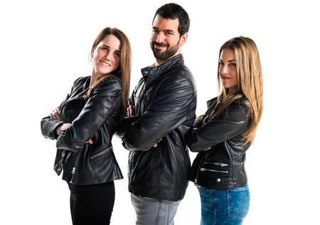 cousin: Three friends with black leather