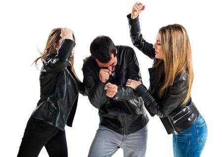 unfaithful: Unfaithful man with her ex-girlfriends Stock Photo