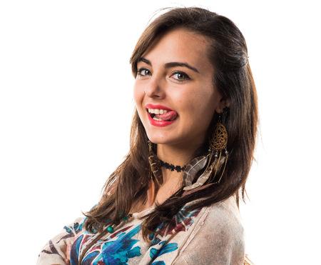 joke: Young girl doing a joke Stock Photo