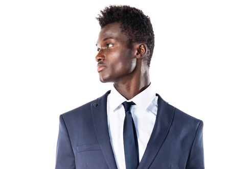 lateral: Handsome black man looking lateral