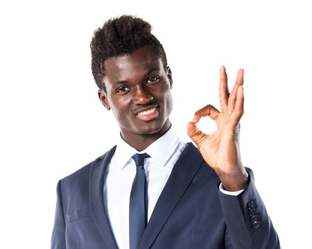 Black man making OK sign Stock Photo - 58674992