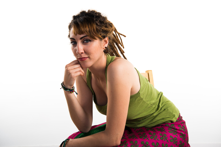dreadlock: Girl with dreadlocks posing in studio