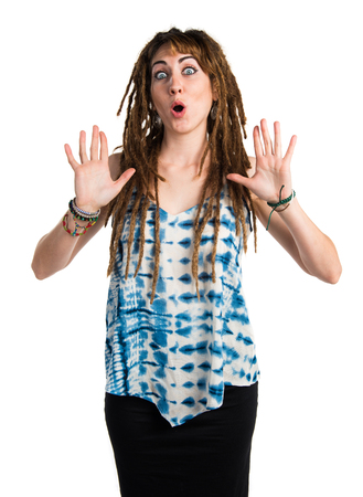 dreadlocks: Girl with dreadlocks doing surprise gesture
