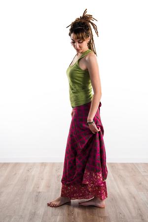 dreadlocks: Girl with dreadlocks posing in studio
