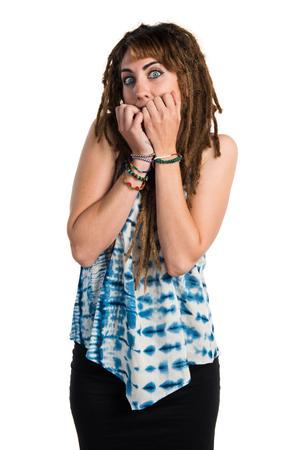 dreadlocks: Frightened girl with dreadlocks
