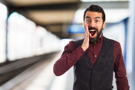 waistcoat: Man wearing waistcoat doing surprise gesture