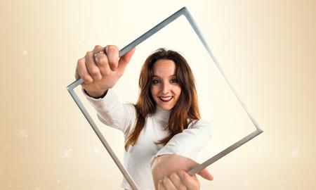 framework: Young girl with framework Stock Photo