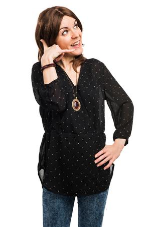 woman on phone: woman making phone gesture