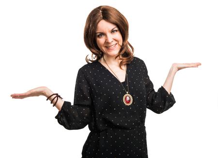 unimportant: Woman making unimportant gesture Stock Photo