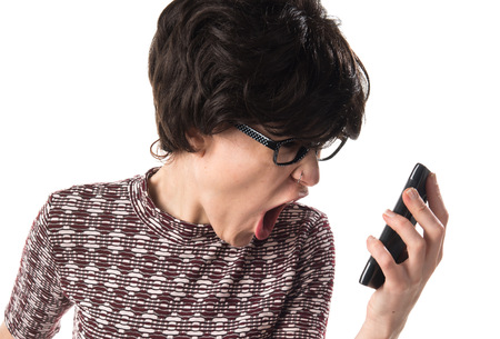 Brunette girl talking to mobile Stock Photo