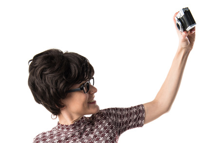 vintage look: Girl with vintage look making a selfie