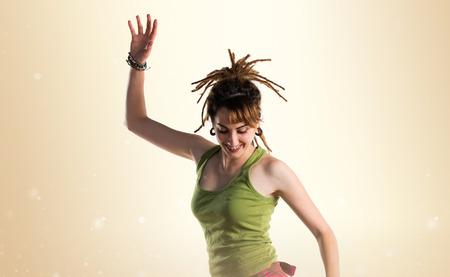dreadlocks: Girl with dreadlocks jumping