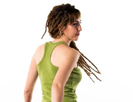 Girl with dreadlocks dancing