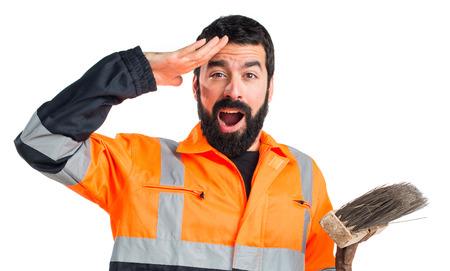 Garbage man showing something