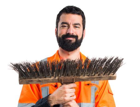 sweeper: Garbage man Stock Photo