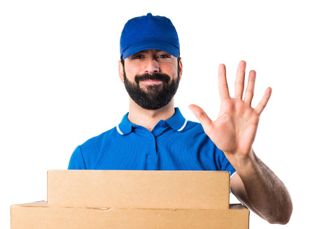 counting five: Delivery man counting five