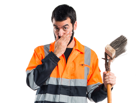 sweeper: Garbage man covering his mouth