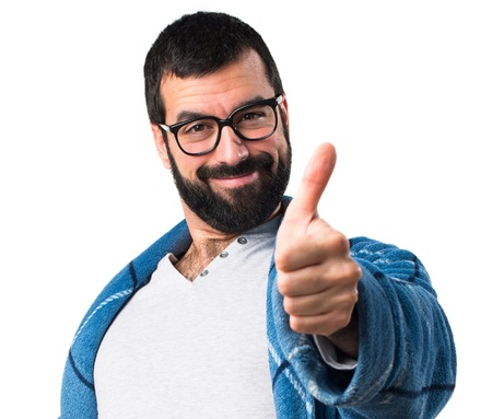 dressing gown: Man in dressing gown with thumb up Stock Photo