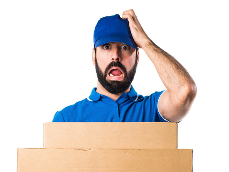 frustrated delivery man