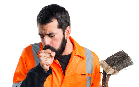 coughing: Garbage man coughing a lot