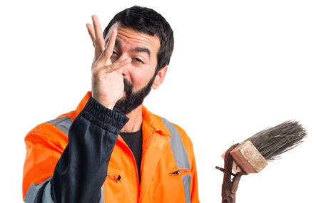 Garbage man doing a joke Stock Photo