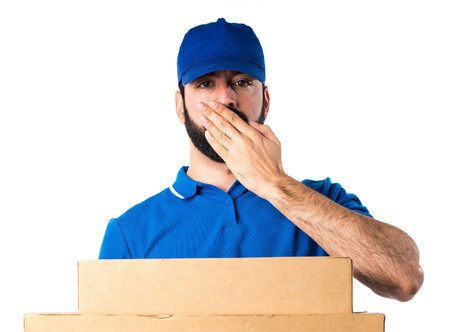 covering: Delivery man covering his mouth